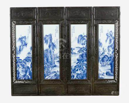 Four Chinese Porcelain Plates,Landscapes painted in blue colours on white ground glazed, in open
