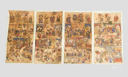 Four Chinese Ming paintings, Indian ink and watercolour on paper laid down on paper and surrounded