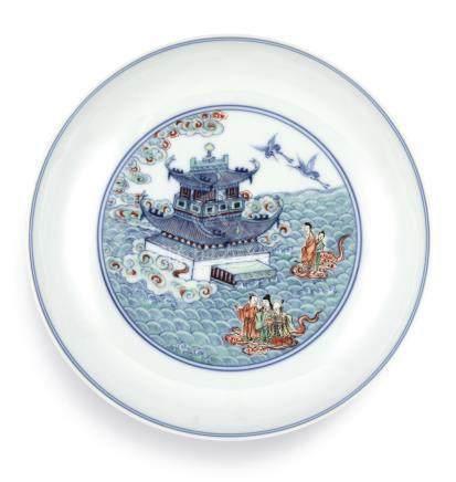清雍正   鬪彩海屋添壽圖盤 《大清雍正年製》款