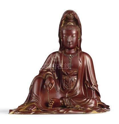 清嘉慶至道光   盧葵生木雕紫漆觀音菩薩坐像 《葵生》款