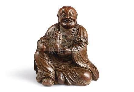 十七世紀   竹根雕笑獅羅漢坐像