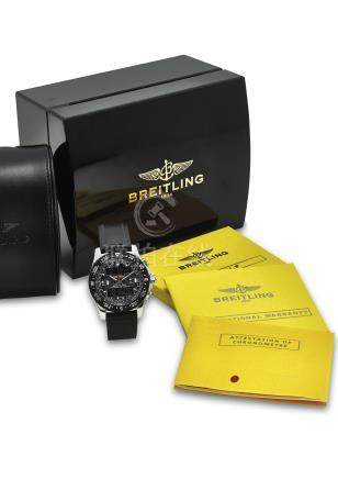 BREITLING. AN EXTREMELY FINE CERAMIC AND STAINLESS STEEL CHRONOGRAPHE QUARTZ WRISTWATCH WITH ORIGINAL CERTIFICATE AND BOX