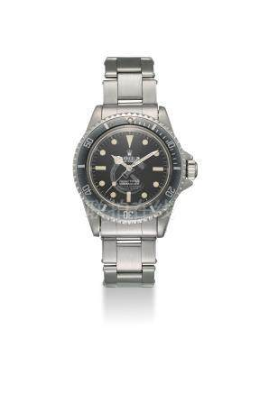 ROLEX. A FINE AND RARE STAINLESS STEEL AUTOMATIC WRISTWATCH WITH SWEEP CENTRE SECONDS AND BRACELET
