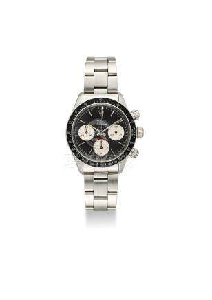 ROLEX. A FINE AND VERY RARE STAINLESS STEEL CHRONOGRAPH WRISTWATCH WITH BRACELET
