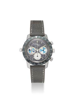 HEUER. A VERY FINE AND EXTREMELY RARE STAINLESS STEEL CHRONOGRAPH WITH TIDAL INDICATION RETAILED BY ABERCROMBIE & FITCH