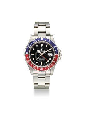ROLEX. AN ATTRACTIVE STAINLESS STEEL AUTOMATIC DUAL TIME WRISTWATCH WITH SWEEP CENTRE SECONDS, DATE, BRACELET, ORIGINAL CERTIFICATE AND BOX
