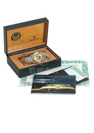 """ROLEX. AN EXTREMELY FINE AND RARE STAINLESS STEEL AUTOMATIC WRISTWATCH WITH SWEEP CENTRE SECONDS, DATE, """"UAE ARMED FORCES EAGLE"""" COAT OF ARMS, ORIGINAL GUARANTEE AND BOX"""