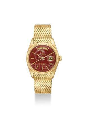 ROLEX. A VERY FINE AND RARE 18K GOLD AUTOMATIC WRISTWATCH WITH OXBLOOD LACQUERED DIAL, SWEEP CENTRE SECONDS, DAY, DATE AND BIG LOGO BRACELET