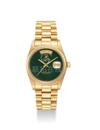 ROLEX. A FINE AND VERY RARE 18K GOLD AUTOMATIC WRISTWATCH WITH JASPER HARD STONE DIAL, SWEEP CENTRE SECONDS, DAY AND DATE