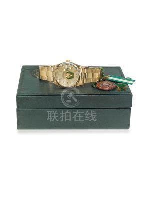 ROLEX. A FINE AND RARE 14K YELLOW GOLD AUTOMATIC WRISTWATCH WITH SWEEP CENTRE SECONDS, DATE AND BRACELET MADE FOR THE UNITED ARAB EMIRATES ARMED FORCES, ORIGINAL BOX