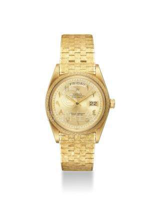 ROLEX. AN ATTRACTIVE AND VERY RARE 18K GOLD AUTOMATIC WRISTWATCH WITH A BIG LOGO BRACELET, EASTERN ARABIC NUMERALS, SWEEP CENTRE SECONDS, DAY AND DATE