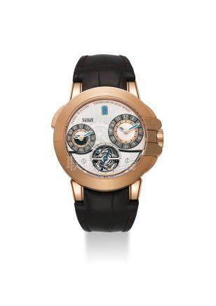 HARRY WINSTON. A VERY FINE AND RARE 18K PINK GOLD LIMITED EDITION AUTOMATIC DUAL TIME TOURBILLON WRISTWATCH WITH DAY AND NIGHT INDICATION, CERTIFICATE OF WARRANTY AND BOX
