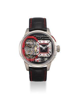 HARRY WINSTON. AN EXTREMELY FINE, LARGE AND VERY RARE 18K WHITE GOLD TWO BI-AXIAL TOURBILLIONS WITH POWER RESERVE, LIMITED EDITION OF 10 PIECES ONLY