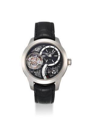 GIRARD-PERREGAUX. A VERY FINE AND EXTREMELY RARE 18K WHITE GOLD LIMITED EDITION TRI-AXIAL TOURBILLION WRISTWATCH WITH POWER RESERVE