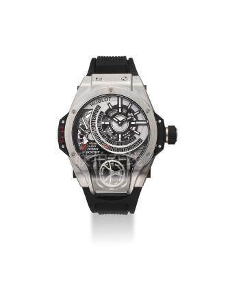 HUBLOT. AN EXTREMELY FINE, LARGE AND VERY RARE LIMITED EDITION TITANIUM TOURBILLION BI-AXIAL WRISTWATCH WITH 5-DAY POWER RESERVE, DATE, ORIGINAL CERTIFICATE AND BOX