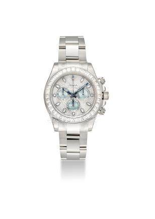 ROLEX. AN EXTREMELY FINE AND VERY RARE PLATINUM DIAMOND-SET AUTOMATIC WRISTWATCH WITH BRACELET