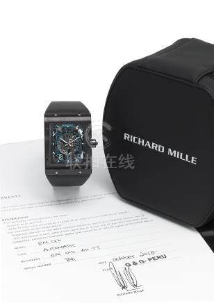RICHARD MILLE. AN EXTREMELY FINE AND RARE, LIMITED EDITION, EXTRA FLAT TITANIUM WRISTWATCH WITH DATE AND ORIGINAL CERTIFICATE
