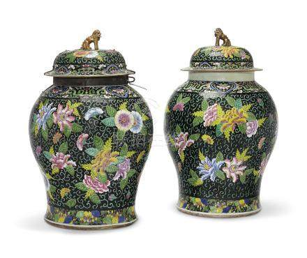 A LARGE PAIR OF FAMILLE NOIRE JARS AND COVERS