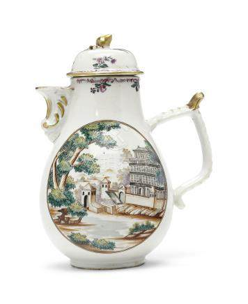 A EUROPEAN SUBJECT COFFEE POT AND COVER