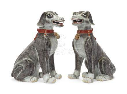 A PAIR OF MASSIVE GREY HOUNDS