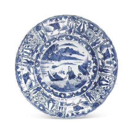 A LARGE BLUE AND WHITE 'KRAAK' DISH