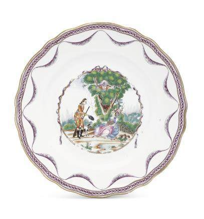 A FAMILLE ROSE 'PEPPING TOM' PLATE
