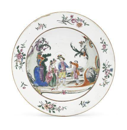 A FAMILLE ROSE EUROPEAN SUBJECT SOUP PLATE