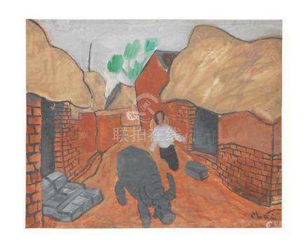 Bui Xuan Phai (Vietnamese, 1920-1988) Scène de village, 1966