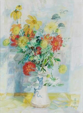 Le Pho (Vietnamese-French, 1907-2001) Fleurs, c. 1970