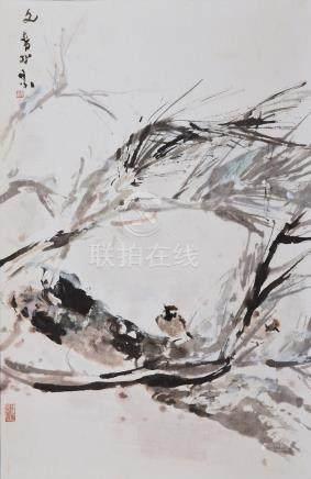 Chen Wen Hsi (Singaporean, 1906-1991) Sparrows
