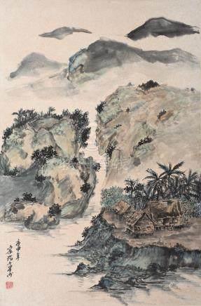 Chen Chong Swee (Singaporean, 1910-1985) Attap houses, 1980
