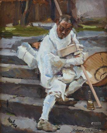 Roland Strasser (Austrian, 1895-1974) Monk on Temple Stairs