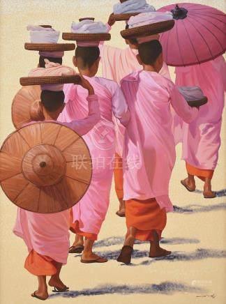 Min Wae Aung (Burmese, b. 1960) Nuns, 1998