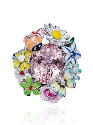 迪奥设计 摩根石配彩色宝石及珐琅彩戒指
