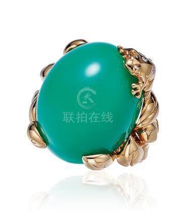 迪奥设计 绿松石配钻石戒指
