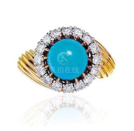 卡地亚设计 绿松石配钻石戒指