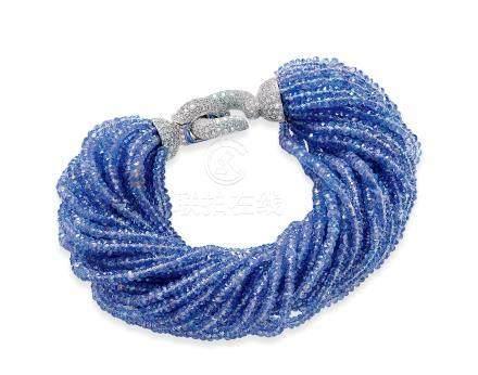 卡地亚设计 坦桑石配钻石手链