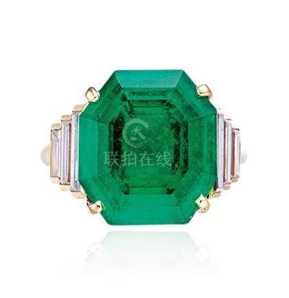 卡地亚设计 哥伦比亚祖母绿配钻石戒指