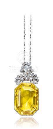 蒂芙尼设计 黄色刚玉配钻石挂坠项链,未经加热