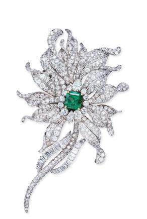 David Webb设计 4.22克拉祖母绿配钻石胸针