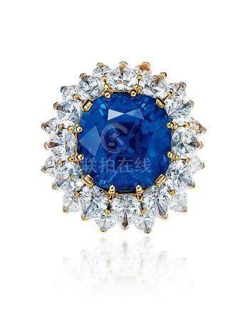 宝格丽设计 19.92克拉斯里兰卡蓝宝石配钻石戒指,未经加热