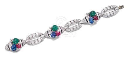MAUBOUSSIN设计 装饰艺术时期,彩色宝石配钻石手链
