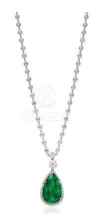 Adler 设计 26.91克拉哥伦比亚祖母绿配钻石挂坠项链