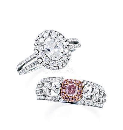 一组淡彩粉色钻石及钻石戒指