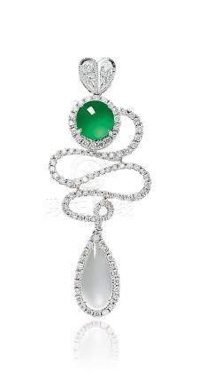 缅甸天然翡翠配钻石挂坠