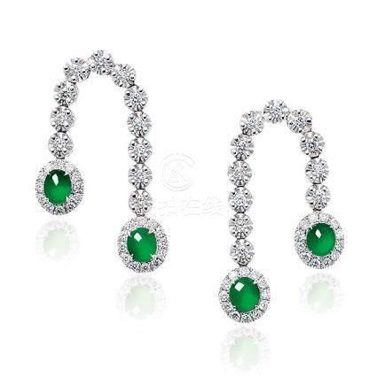 缅甸天然翡翠配钻石耳环