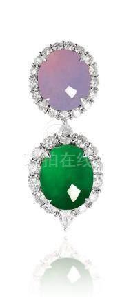 缅甸天然翡翠及紫罗兰翡翠配钻石挂坠