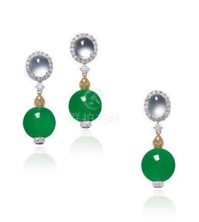 缅甸天然翡翠珠配钻石耳环及挂坠套装