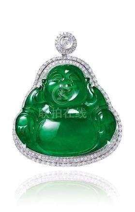 缅甸天然翡翠「弥勒佛」配钻石挂坠