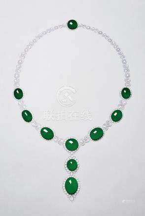 缅甸天然翡翠蛋面配钻石项链